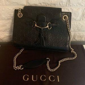 EUC 🔥 Authentic Gucci Guccisima Black Leather